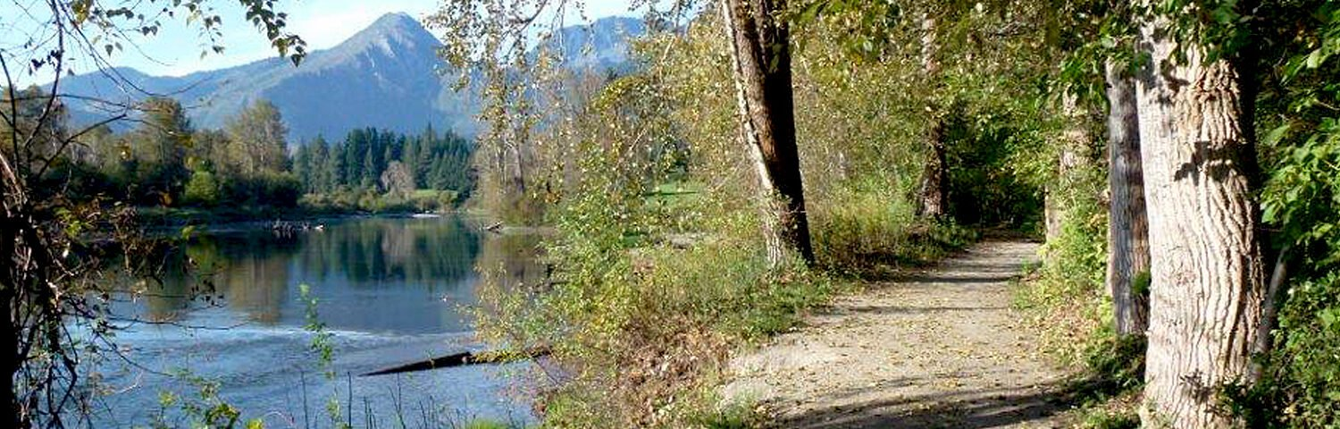 Waterfront park trail and wedge mountain river view
